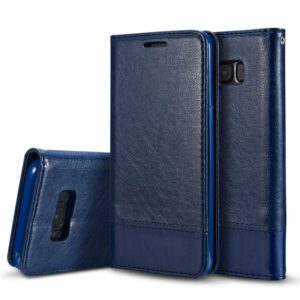 For Galaxy Note8 Double-sided Absorption Splicing Horizontal Flip Leather Case with Holder & Card Slots & Lanyard(Blue)