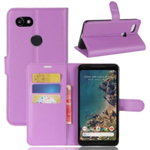 For Google Pixel 2 XL Litchi Texture Horizontal Flip Leather Case with Holder & Card Slots & Wallet (Purple)