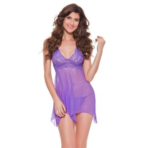 Women Sexy Adult Lingerie Babydoll Lace See-Through Mesh Chemise Halter Underwear, Size: XXL(Purple) (FunAdd)