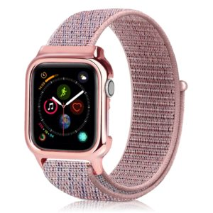 Simple Fashion Nylon Watch Strap with Frame for Apple Watch Series 5 & 4 40mm(Pink)