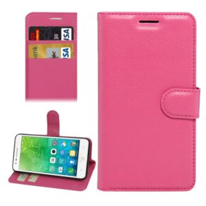 For Lenovo VIBE C2 Texture Horizontal Flip Leather Case with Holder & Card Slots & Wallet(Magenta)