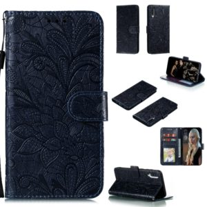 For Galaxy A70s Lace Flower Horizontal Flip Leather Case with Holder & Card Slots & Wallet & Photo Frame(Black)