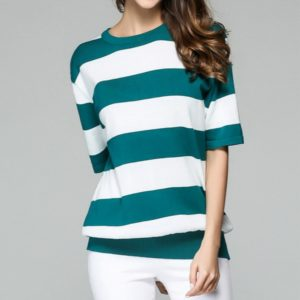 Spring Fashion Women Striped Short-sleeved Sweater T-shirt, Size: L(Green and White)