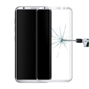 For Galaxy S8 / G9500 0.3mm 9H Surface Hardness 3D Curved Surface Silk-screen Full Screen Tempered Glass Screen Protector(Silver)