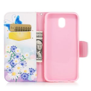 Colored Drawing Pattern Horizontal Flip Leather Case for Samsung GalaxyJ330&J3,with Holder & Card Slots & Wallet(Butterfly Love)