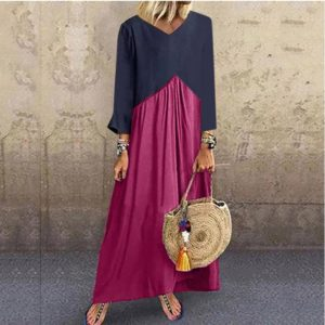 Stitching Contrast Color Irregular Long-sleeved Dress, Size: XL(Purple)