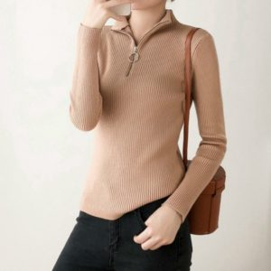 Autumn and Winter Lazy Half-high Collar Short Tight Sweater, Size: One Size(Khaki )