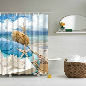 2 PCS Colorful Beach Conch Starfish Shell Polyester Washable Bath Shower Curtains, Size:165X180cm(Book Shell )
