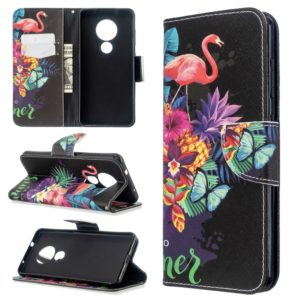 For Nokia 6.2 / 7.2 Colored Drawing Pattern Horizontal Flip Leather Case with Holder & Card Slots & Wallet(Flamingo)