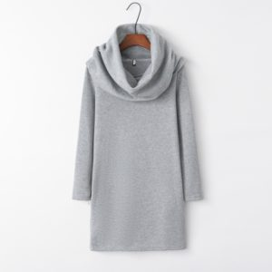Hooded Hip Long Sleeve Warm Dress (Color:Grey Size:XL)