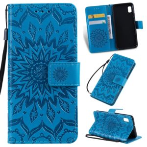 Pressed Printing Sunflower Pattern Horizontal Flip PU Leather Case for Galaxy A10e, with Holder & Card Slots & Wallet & Lanyard (Blue)