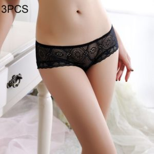 3 PCS FunAdd Women Lace Transparent Seamless Sexy Underwear Hollow Low-waisted Enticing Panties, Free Size (Black) (FunAdd)