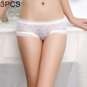 3 PCS FunAdd Women Fashion High-grade Low-waisted Underwear Lace Hollow Sexy Enticing Breathable Panties, Free Size (White) (FunAdd)