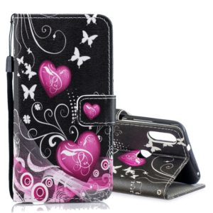 Peach Heart Pattern Horizontal Flip Leather Case for Xiaomi Mi Play, with Holder & Card Slots & Wallet