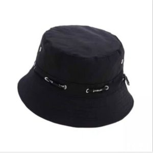 2 PCS Fashionable Adjustable Cotton Bucket Cap Shade Fisherman Hat with Venting & String(Black)