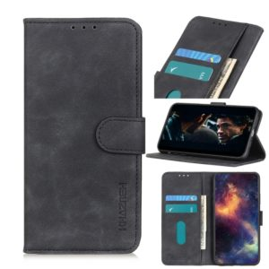 For LG Q60 / K50 Retro Texture PU + TPU Horizontal Flip Leather Case with Holder & Card Slots & Wallet(Black)
