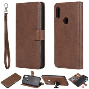 For Xiaomi Redmi Note 6 Pro Solid Color Horizontal Flip Protective Case with Holder & Card Slots & Wallet & Photo Frame & Lanyard(Brown)