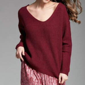 V-neck Pullover Personalized String Sexy Sweater, Size: S(Wine Red)