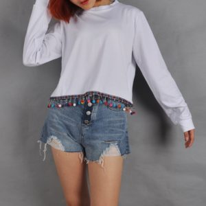 Long-sleeved Round Neck Hem Stitching Retro Small Ball T-shirt (Color:White Size:L)