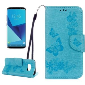 For Galaxy S8 Butterflies Embossing Horizontal Flip Leather Case with Holder & Card Slots & Wallet & Lanyard(Blue)