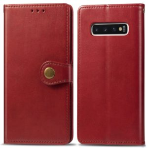 Retro Solid Color Leather Buckle Mobile Phone Protection Leather Case with Photo Frame & Card Slot & Wallet & Bracket Function for Galaxy S10(Red)