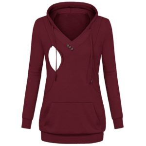 Maternity Womens Nursing Hoodies Sweatshirt Stripe Pregnant Clothes Fashion Lattice Long Sleeve Hoodies Breastfeeding Tops, Size:S(Red)