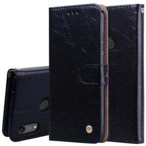 Business Style Oil Wax Texture Horizontal Flip Leather Case for Huawei Y6 (2019) / Honor 8A, with Holder & Card Slots & Wallet (Black)