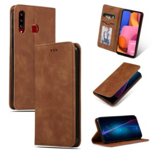 For Galaxy A20S Retro Skin Feel Business Magnetic Horizontal Flip Leather Case(Brown)