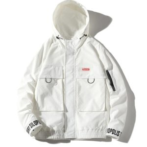 Hooded Loose Casual Coat Embroidery Tooling Jacket for Men (Color:White Size:S)