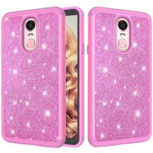 Glitter Powder Contrast Skin Shockproof Silicone + PC Protective Case for LG Stylo 4 / Q Stylus (Pink)