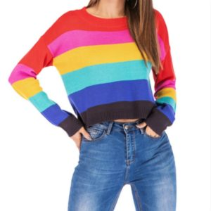 Loose Rainbow Striped Long-sleeved Sweater, Size: XL(As Show)