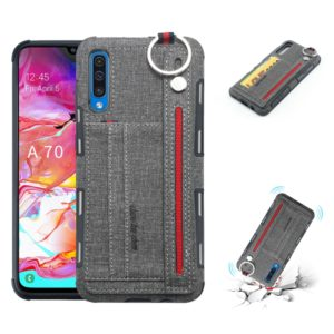 For Galaxy A70 Cloth Texture + TPU Shockproof Protective Case with Metal Ring & Holder & Card Slots & Hanging Strap(Grey)