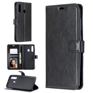 Crazy Horse Texture Horizontal Flip Leather Case for Galaxy A60, with Holder & Card Slots & Wallet & Photo Frame(black)