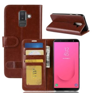 PU + TPU Crazy Horse Texture Horizontal Flip Leather Case for Galaxy J8 (2018) (EU Version), with Wallet & Holder & Card Slots(Brown)