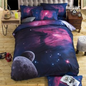 Bedding Sets Universe Outer Space Themed Bed Linen 3D Galaxy Duvet Cover, Size:150x210 (4pcs)(xk002)