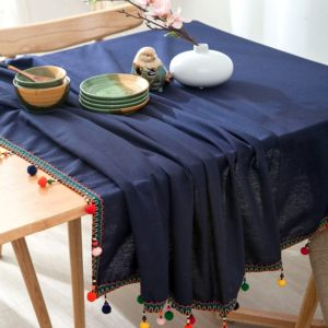New Fashion European Ethnic Style Colorful Ball Tassel Cotton Tablecloth