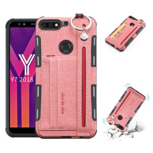 For Huawei Y7 (2018) Cloth Texture + TPU Shockproof Protective Case with Metal Ring & Holder & Card Slots & Hanging Strap(Pink)