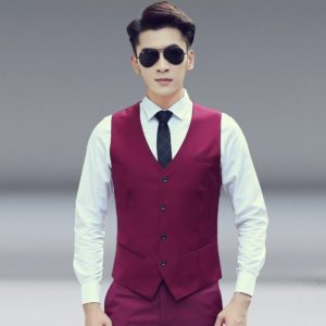 Men Vest Slim Korean Work Clothes Suit Vest Groomsmen Professional Wear Men Vest, Size: XXXL(Wine red)