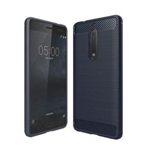 For Nokia 5 Brushed Carbon Fiber Texture Shockproof TPU Protective Cover Case(Navy Blue)