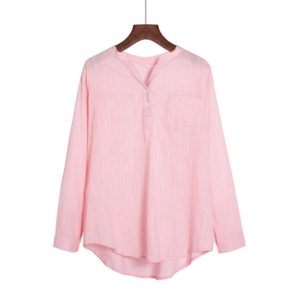 Solid Color Wild Long Sleeved Collar Pullover Ladies Professional Shirt, Size: XL(Pink)