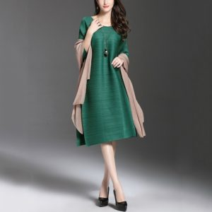 A Word Loose Pleated Pleated Long Section Dress(Color:Green Size:One Size)