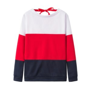 Casual Contrast Color Stitching Round Neck Long Sleeve Loose Women s Sweatshirt (Color:Red Size:XXL)