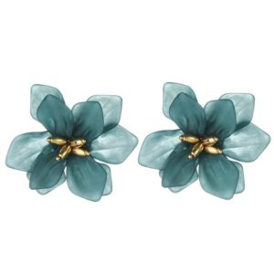 925 Silver Pin Hyperbole Acrylic Big Flower Earrings for Women(Blue)