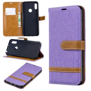 Color Matching Denim Texture Leather Case for Huawei Y6 2019 / Y6 Pro 2019, with Holder & Card Slots & Wallet & Lanyard(Purple)