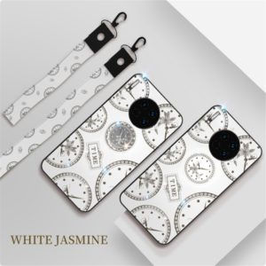 For Huawei Mate 30 Pro Fashion Clock Pattern Rhinestone Mobile Phone Shell with Bracket / Hand Rope / Lanyard(White)