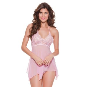 Women Sexy Adult Lingerie Babydoll Lace See-Through Mesh Chemise Halter Underwear, Size: XXL(Pink) (FunAdd)