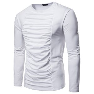 Chest Folds Decorative Solid Color Sleeve Long-sleeved T-shirt for Men, Size: S(White)