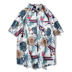 Cardigan Printed Short Sleeve Shirt for Men(Color:3816# Size:M)