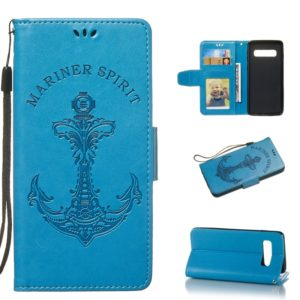 Pressed Printing Mermaid Anchor Pattern Horizontal Flip PU Leather Case for Galaxy S10, with Holder & Card Slots & Wallet & Photo Frame (Blue)