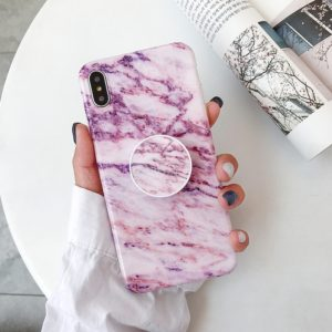 Marble Anti-drop TPU Protection Back Cover for iPhone XS Max, with Folding Holder(Z19)